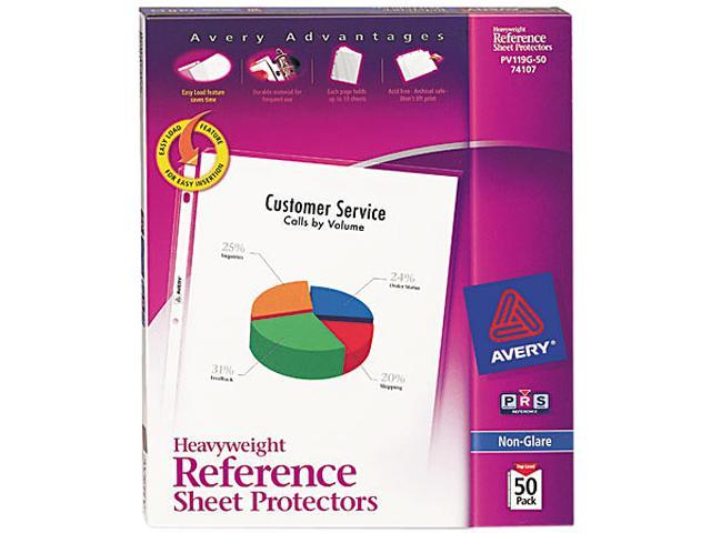 Avery 74107 Top-Load Poly Sheet Protectors, Heavy Gauge, Letter, Nonglare, 50/Box
