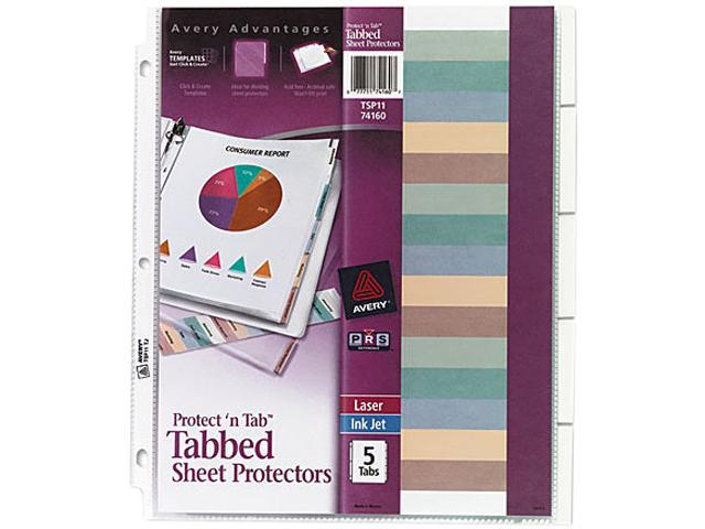 Avery 74160 Protect 'n Tab Top-Load Clear Sheet Protectors w/Five Tabs, Letter