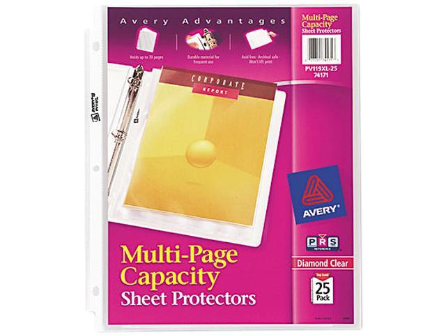 Avery 74171 Multi-Page Top-Load Sheet Protectors, Heavy Gauge, Letter, Clear, 25/Pack