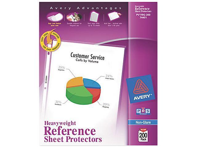 Avery 74401 Top-Load Poly Sheet Protectors, Super Heavy, Letter, Nonglare, 200/Box
