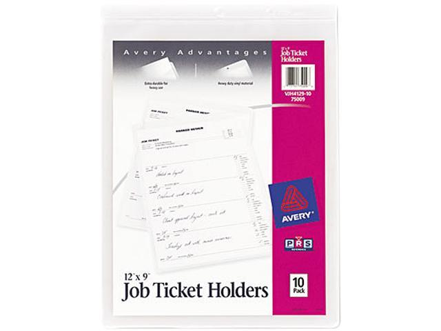 Avery 75009 Job Ticket Holders, Heavy Gauge Vinyl, 9 x 12, 10/Pack