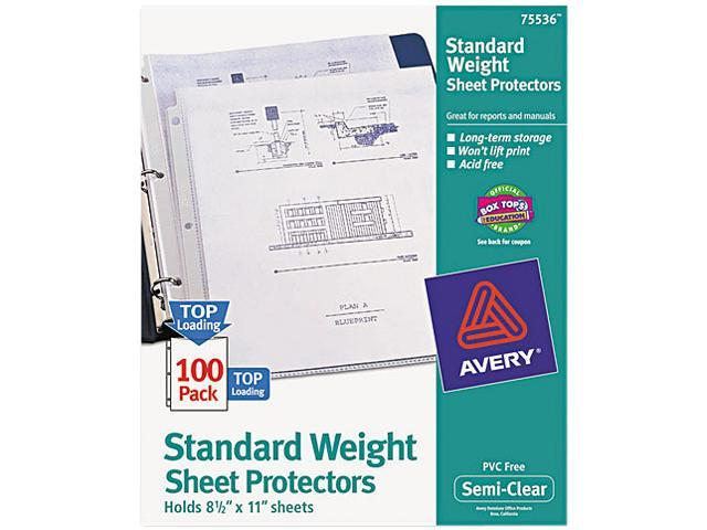Avery 75536 Top-Load Polypropylene Sheet Protectors, Letter, Semi-Clear, 100/Box