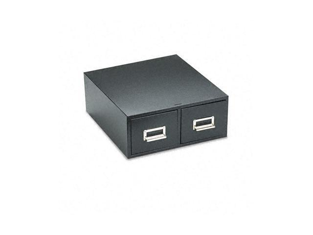 "Buddy Products 1646-4 Steel Double Drawer Card Cabinet Holds 3200 4 x 6 Cards, 16"" Deep, Black"