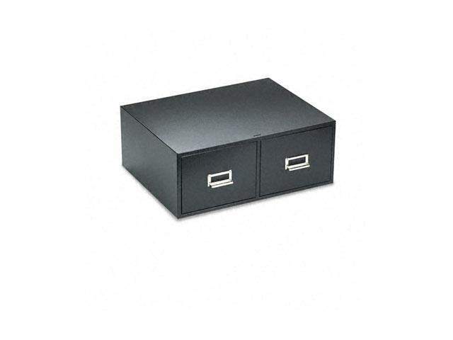 "Buddy Products 1669-4 Steel Double Drawer Card Cabinet Holds 3200 6 x 9 Cards, 16"" Deep, Black"