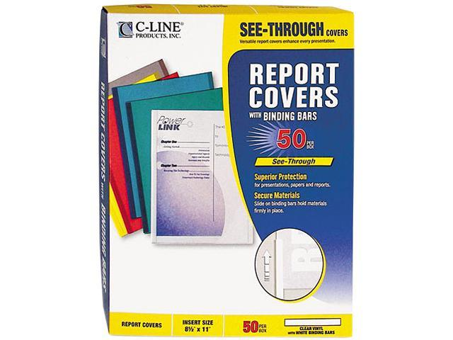 "C-line 32557 Vinyl Report Cover, Binding Bar, Letter, 1/8"" Capacity, 50/Box"