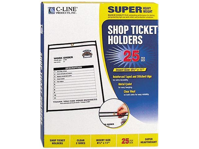 C-line 46911 Shop Ticket Holders, Letter, Clear Front & Back w/Black Stitching, 25/Box