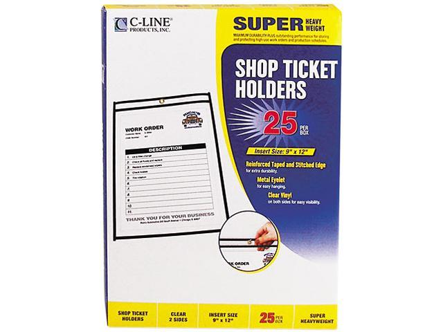 C-line 46912 Shop Ticket Holders, 9 x 12, Clear Front & Back w/Black Stitching, 25/Box