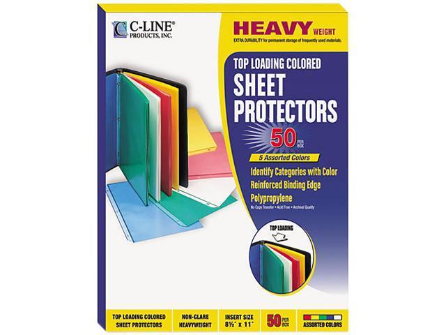 C-line 62010 Transparent Pastel Sheet Protectors, Ltr, Four Colors, Non-Glare, 50/Box