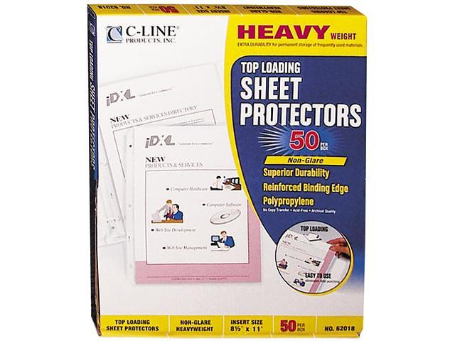 C-line 62018 Top-Load Poly Sheet Protectors, Heavy Gauge, Letter, Non-Glare, 50/Box
