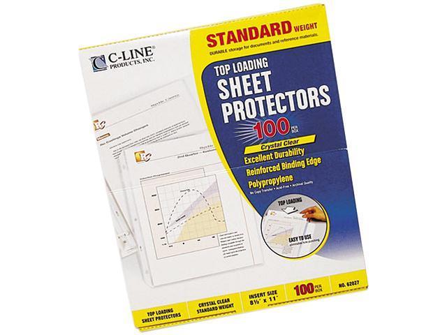 C-line 62027 Top-Load Polypropylene Sheet Protectors, Std Gauge, Letter, Clear, 100/Box