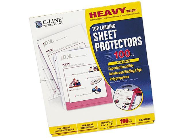 C-line 62028 Top-Load Polypropylene Sheet Protectors, Heavy Gauge, Ltr, Clear, 100/Box