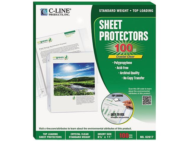C-line 62617 Biodegradable Sheet Protector, Standard, 8-1/2 x 11, Clear, 100/Box