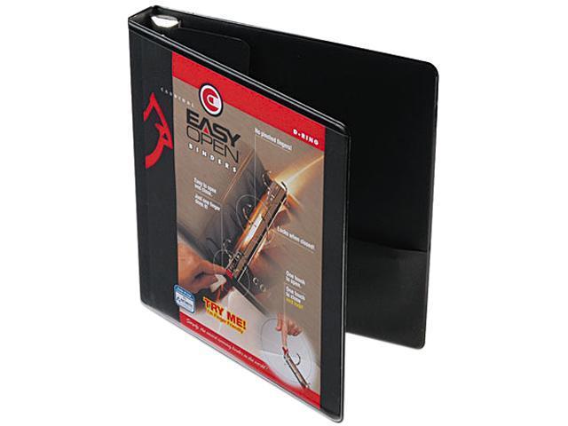 "Cardinal 10301 Recycled ClearVue EasyOpen Vinyl D-Ring Presentation Binder, 1"", Black"