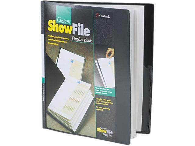 Cardinal 50132 ShowFile Display Book w/Custom Cover Pocket, 12 Letter-Size Sleeves, Black