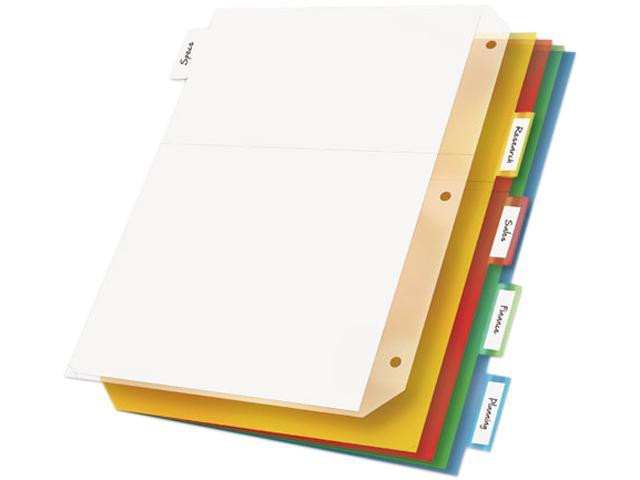 Cardinal 84009 Ring Binder Divider Pockets With Index Tabs, Letter, Assorted Colors, 5/Pack