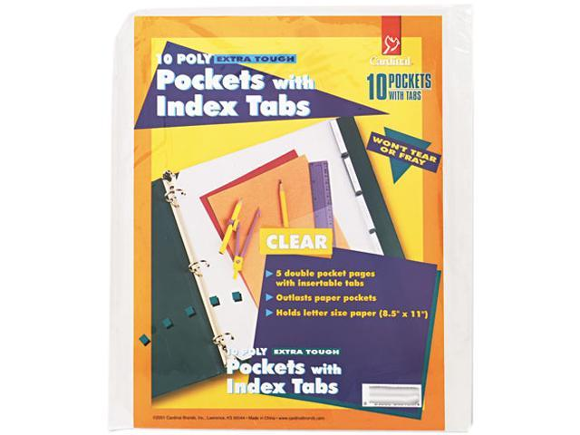 Cardinal 84010 Ring Binder Divider Pockets With Index Tabs, 8-1/2 x 11, Clear, 5/Pack