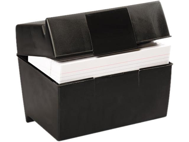 Oxford 01581 Plastic Index Card Flip Top File Box Holds 500 5 x 8 Cards, Matte Black