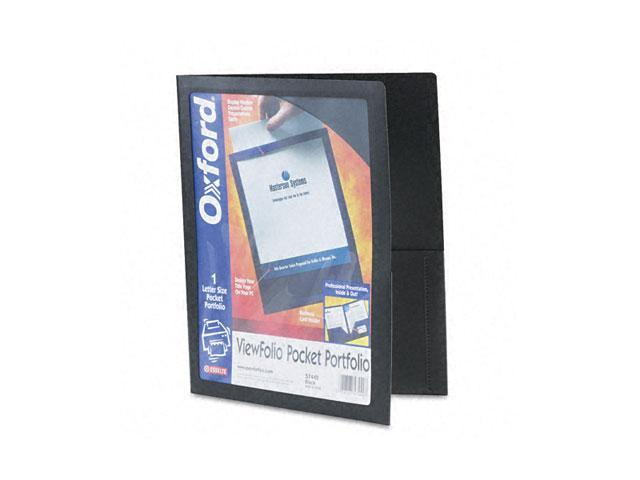 Oxford 57442 ViewFolio Polypropylene Portfolio, 50-Sheet Capacity, Black/Clear