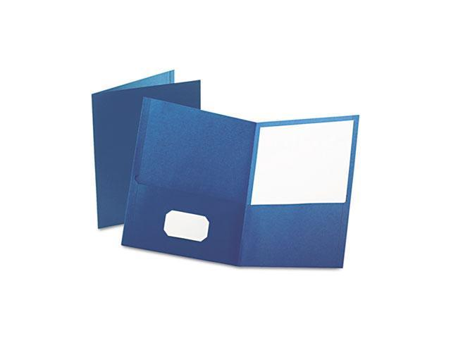 Oxford 57502 Twin-Pocket Portfolio, Embossed Leather Grain Paper, Blue