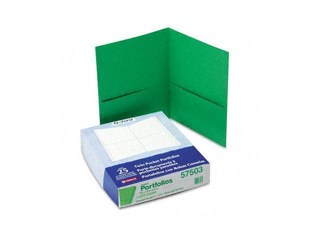 Oxford 57503 Twin-Pocket Portfolio, Embossed Leather Grain Paper, Light Green
