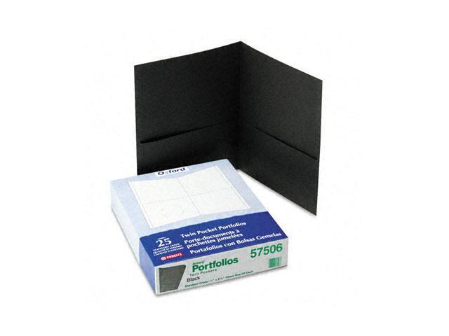 Oxford 57506 Twin-Pocket Portfolio, Embossed Leather Grain Paper, Black