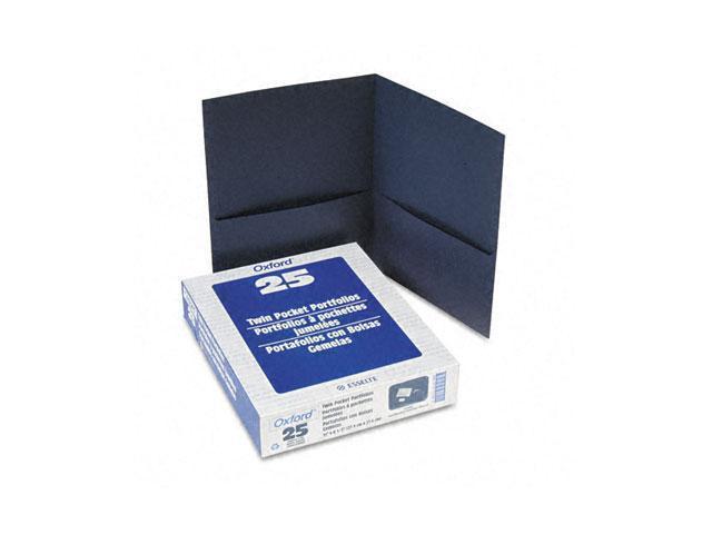 Oxford 57538 Twin-Pocket Portfolio, Embossed Leather Grain Paper, Dark Blue
