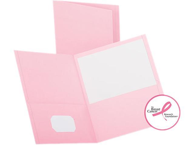Oxford 57568 Twin-Pocket Portfolio, Embossed Leather Grain Paper, Pink