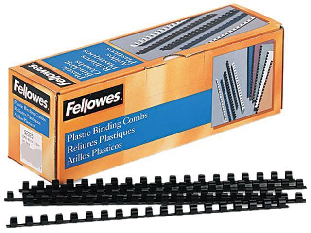 "52325 Fellowes Plastic Comb Bindings, 3/8"" Diameter, 55 Sheet Capacity, Black, 100 Combs/Pack"