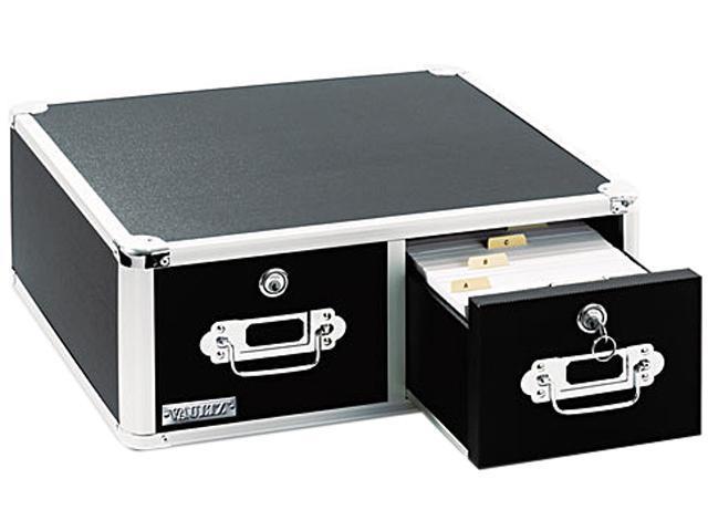 Vaultz VZ01393 Vaultz Locking 5 x 3 Two-Drawer Index Card Box, 3000-Card Capacity, Black