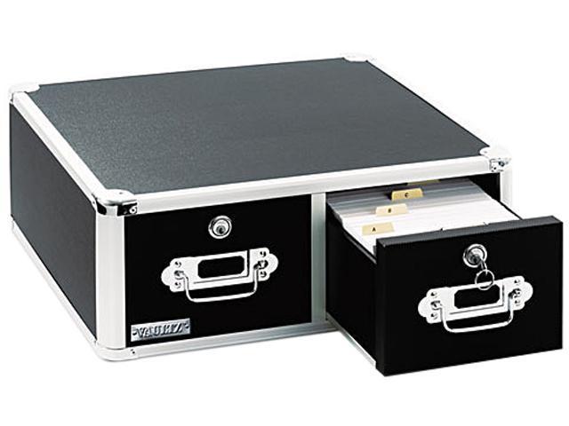 Vaultz VZ01395 Vaultz Locking 6 x 4 Two-Drawer Index Card Box, 3000-Card Capacity, Black