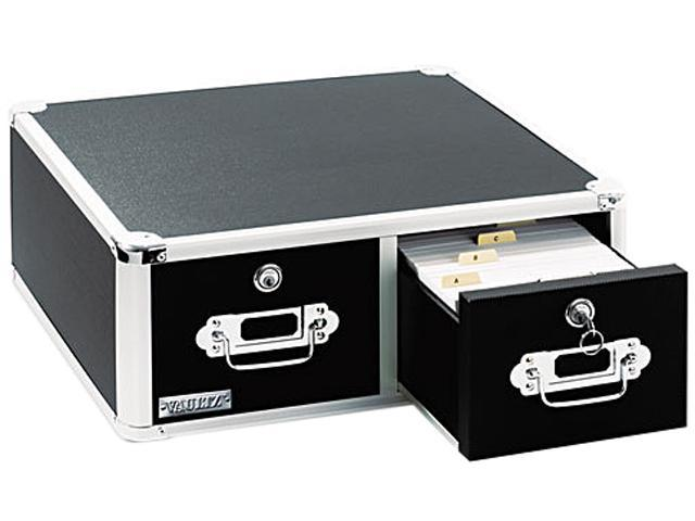 Vaultz VZ01397 Vaultz Locking 8 x 5 Two-Drawer Index Card Box, 3000-Card Capacity, Black
