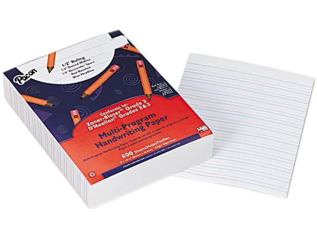 "Pacon Multi-Program Handwriting Paper, Grades 2/3, 1/2"" Rule, White, 500 Sheets/Ream"