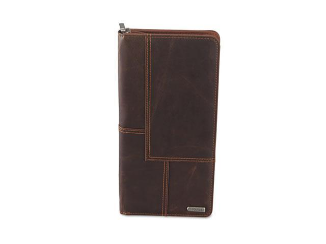 Rolodex 22336 Explorer Leather Business Card Book, 96-Card Capacity, 5 x 10 1/8, Brown