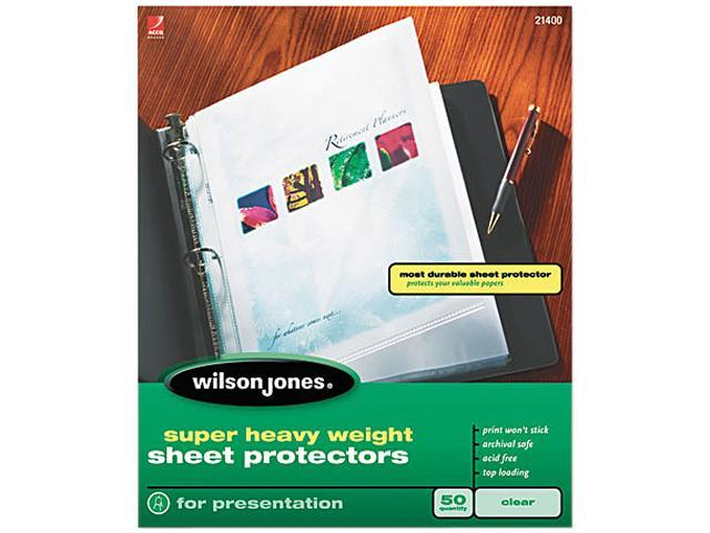 Wilson Jones 21400 Super Heavy Weight Sheet Protector, Clear, 50/Box