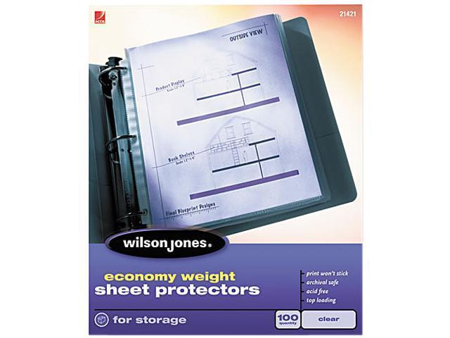 Wilson Jones 21423 Economy Weight Sheet Protector, Non-Glare Finish, Clear, 100/Box