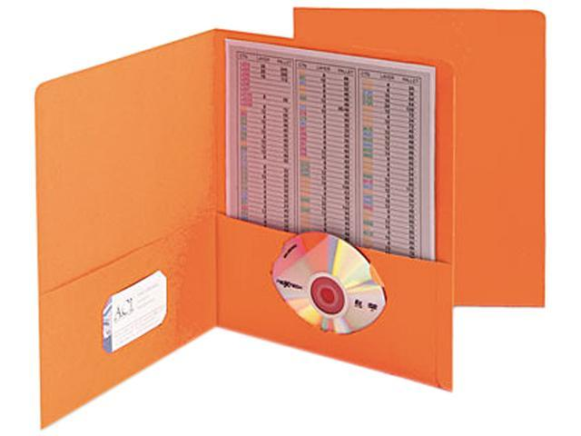 Smead 87858 Two-Pocket Portfolio, Embossed Leather Grain Paper, Orange, 25/Box
