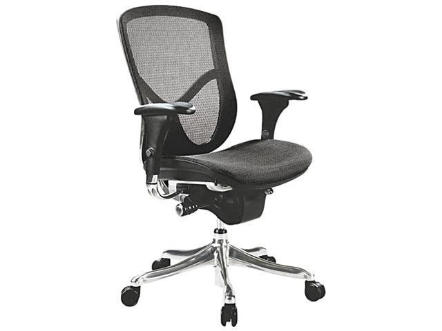 EQ Series Ergonomic Multifunction Mid-Back Mesh Chair, Aluminum Base