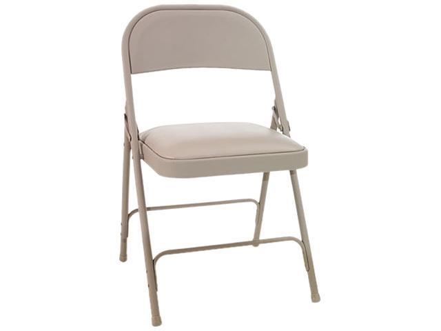 Steel Folding Chair w/Padded Seat, Tan, 4/Carton