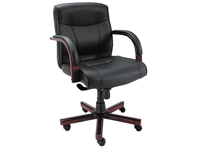 Alera LEMA42LS10M - Madaris Series Mid-Back knee Tilt Leather Chair w/Wood Trim, Black/Mahogany