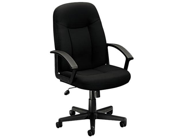 basyx VL601VA10T VL601 Series Managerial Mid-Back Swivel/Tilt Chair, Black Fabric & Frame