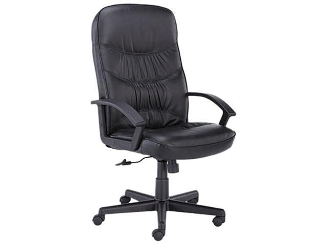 basyx VL641ST11 VL641 Leather High-Back Swivel/Tilt Chair, Metal, 25-3/4w x 28-1/2d x 47h, Black