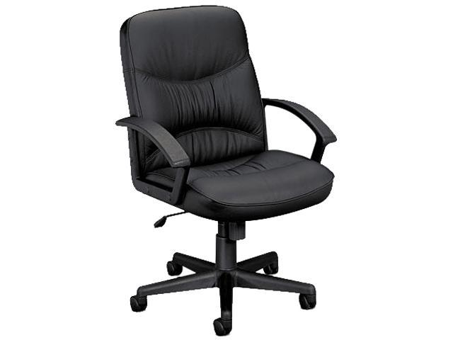 basyx VL642ST11 VL640 Series Leather Managerial Mid-Back Swivel/Tilt Steel Chair, Black