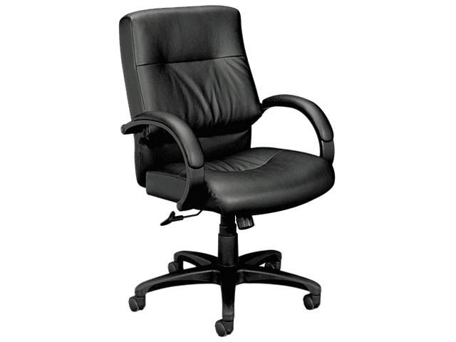 basyx VL692SP11 VL690 Series Managerial Mid-Back Leather Chair, Black Leather