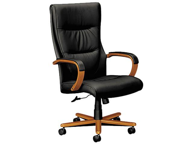 basyx VL844HSP11 VL844 Series High-Back Swivel/Tilt Chair, Black Leather/Bourbon Cherry