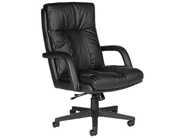 Global 3966BK450550 Series Leather High-Back Swivel/Tilt Chair w/Arms, Black