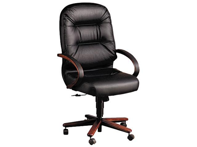 HON 2191NSR11 2190 Pillow-Soft Wood Series Executive High-Back Chair, Mahogany/Black Leather