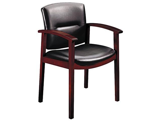 HON 5003NEE11 5000 Series Park Avenue Guest Chair, Black Vinyl/Mahogany Finish