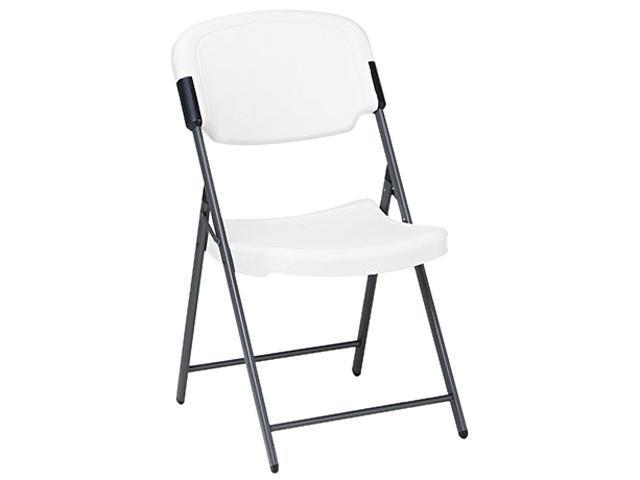 Iceberg 64003 Rough N Ready Resin Folding Chair, Steel Frame, Platinum