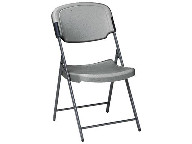 Iceberg 64007 Rough N Ready Resin Folding Chair, Steel Frame, Charcoal