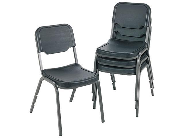 Iceberg 64011 Rough N Ready Original Stack Chair, Resin, Black, 4/Carton